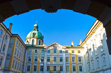 tyrol: Austria, Tyrol, Innsbruck, the Mofburg palace in the old city center at sunset Editorial