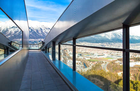 inn: Austria, Tyrol, Innsbruck, panoramic view over the city and Inn valley from Bergisel skijamping stadium Editorial
