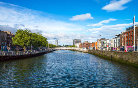 liffey: Dublin,  Ireland - July 31, 2013: View of the city on the Liffey river in the Temple Bar district