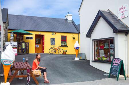 doolin: Calway, Ireland - August 4, 2013:  A tourist resting in the Doolin village