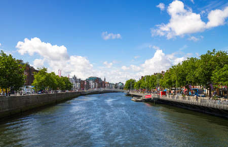liffey: Dublin, Ireland - August 3, 2013:  View of the city on the Liffey river in the Temple Bar district