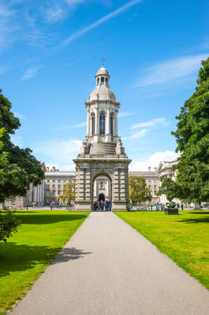 the campanile: Dublin, Ireland - August 3, 2013:  The Campanile of the Trinity College