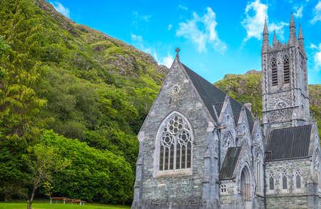 connemara: Ireland, Calway county, Connemara area, the Gothic church of the Kylemore abbey on the Pollacappul lake