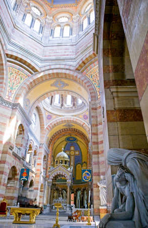 nave: France, Marseille, the nave of the  cathedral La Major  with a sacred sculpture in the foreground Editorial