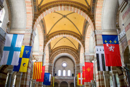 nave: France, Marseille, paintings, decorations and flags in the nave of the cathedral La Major . Editorial