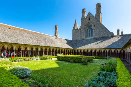 st michel: Mont St. Michel, France - May 22, 2012: Normandy, the church seen from the cloister of the abbey Editorial