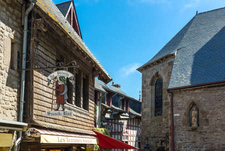 st michel: Mont St. Michel, France - May 22, 2012: Normandy, architectures and signs of the medieval village