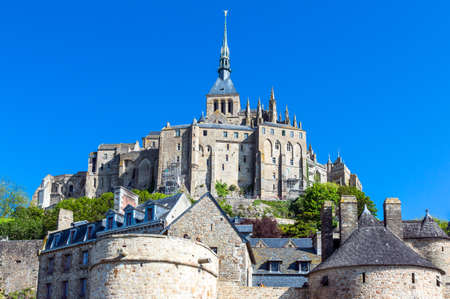 mont: France, Normandy, Mont St Michel, view of the medieval village and abbey.