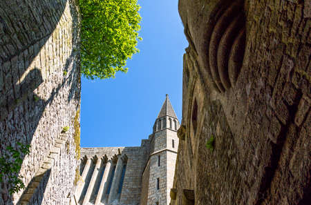 st  michel: France, Normandy, Mont St Michel, upward view of the abbey.