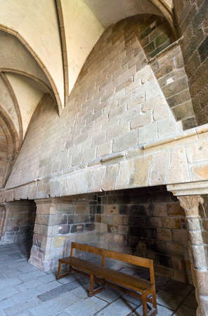 michel: France, Normandy, Mont St Michel, the big fireplace of the reception hall of the abbey