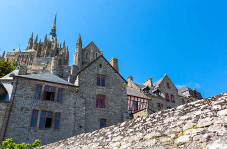 st  michel: France, Normandy, Mont St Michel, view of the abbey from the medieval village