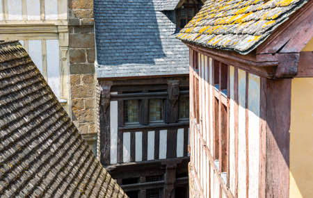 st  michel: France, Normandy, yhe houses of the medieval village of Mont St Michel Stock Photo