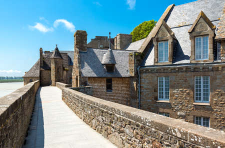 michel: France, Normandy, yhe houses of the medieval village of Mont St Michel Stock Photo
