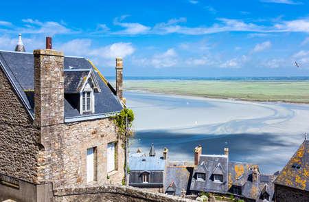 michel: France, Normandy, Mont St Michel, view of the bay from the medieval village.