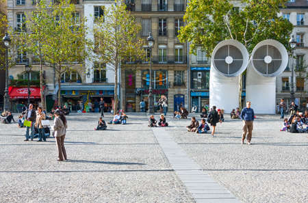 croud: Paris,  France - October 3, 2009: People  in the square of the Pompidou Cultural Center.