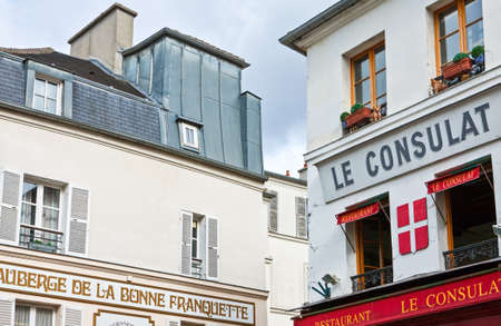 sop: Paris,  France - October 4, 2009: Montmartre, hotel and restaurants in Rue S.Rustique. Editorial
