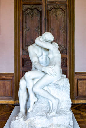 rodin: Paris,  France - August 3i, 2011: The Kiss sculpture of August Rodin in the Rodin Museum. Editorial
