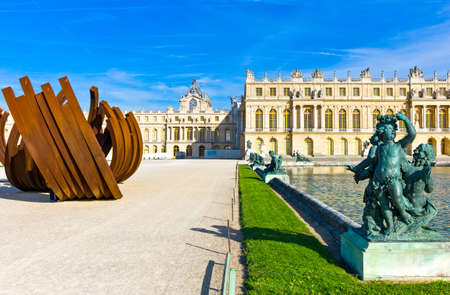 versailles: Paris,  France - August 31, 2011: Classic and abstract sculpture, in the garden of the Royal Palace of Versailles. Editorial