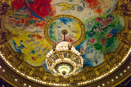 ra: Paris,  France - August 31, 2011: Ceiling paintings of a hall of the Opéra Garnier palace.