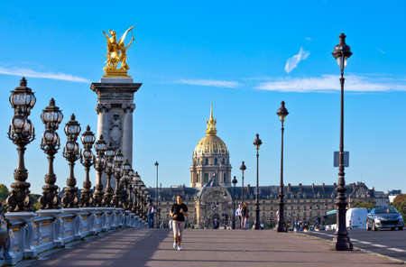 invalides: Paris,  France - August 29, 2011:  The Esplanade des Invalides seen from the Alexander III bridge.