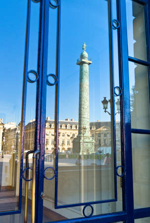 shopwindow: Paris, reflection of the column on a shopwindow in Place Vendome