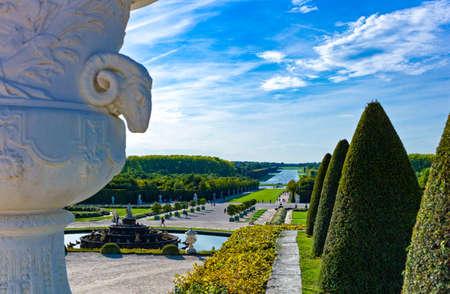 Royal Palace: Paris, the gardens of  the Royal Palace of Versailles Editorial