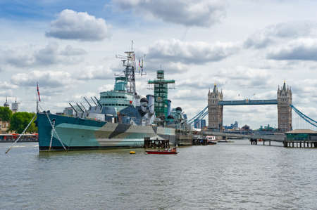 warship: London, England - June 30, 2008:  The warship HMS Belfast today a museum Editorial