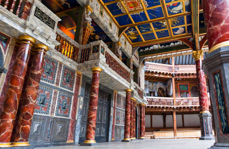 London, England - January 30, 2012:  The Shakespeare's  Globe theatre rebuilded with the same materials and tecniques of the original