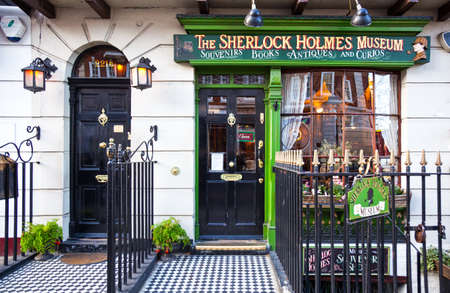 London, England - January 27, 2012: The entrance of the  Sherlock Holmes house and museum in Baker street Editorial