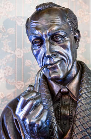 holmes: London, England - January 27, 2012: The Sherlock Holmes bust in the house in Baker street