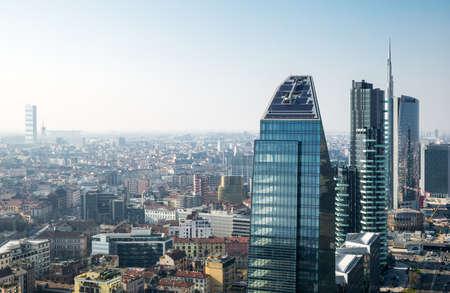 city scape: Milan, Italy - February 18, 2015: City scape from the Grattacielo of Della Repubblica square