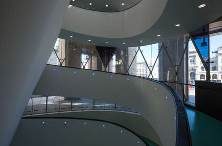Milan, Italy - April 12, 2012: Architectures of the interior of the Museum of the twentieth century