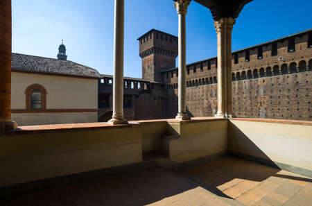 sforzesco: Milan, Italy - May 3, 2012: The Castello Sforzesco courtyard balcony