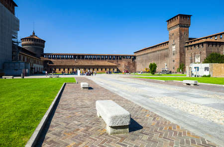 sforzesco: Milan, Italy - May 3, 2012: The Castello Sforzesco courtyard