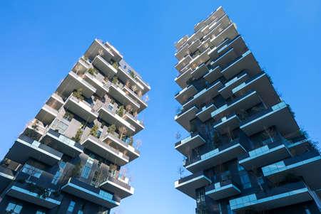 bosco: Milan, Italy - January 24, 2015: Porta Nuova, the Bosco Verticale towers Editorial