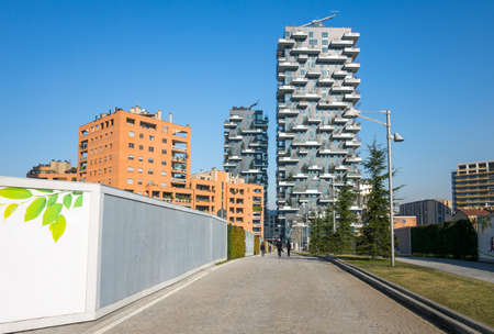 bosco: Milan, Italy - February 9, 2015: Porta Nuova, view of the Bosco Verticale towers Editorial