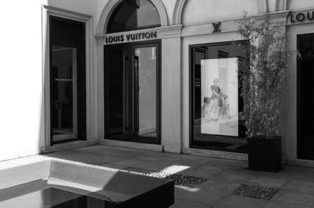 courtyard: Milan, Italy - July 5, 2014: A courtyard of a fashion store  in Montenapoleone street Editorial