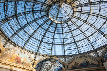glass ceiling: Milan, Italy - February 10, 2015: The glass ceiling of the Vittorio Emanuele Gallery