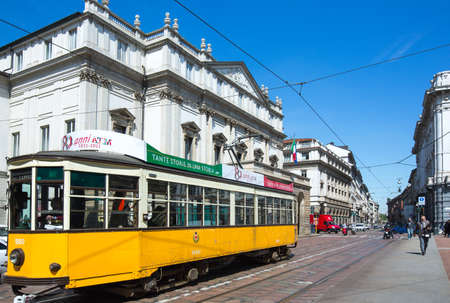 scala: Milan, Italy - April 12, 2012:  A  tram in front of the   Scala theater