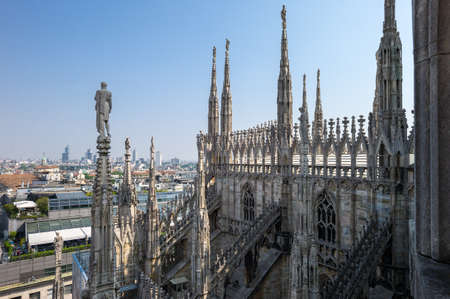 Italy, Milan, view of the city center palaces from the rooftop of the Duomo cathedral