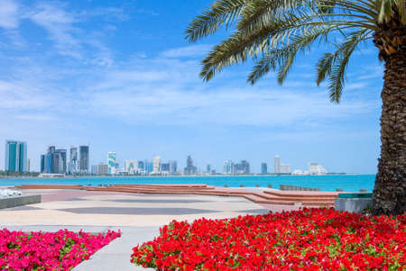 seafront: Doha, Qatar - April 9, 2006: The modern area of ??the city seen from the seafront gardens