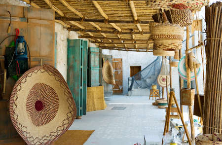 souq: Doha, Qatar - February 14, 2006: Handicraft in the Souq Wakif in the old city center