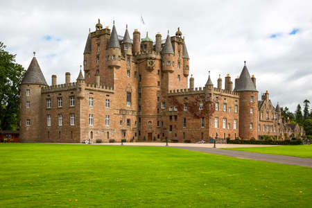 fife: Angus, Scotland - July 27, 2012:  Fife area,  the Glamis castle, childhood home of the Queen Elizabeth.