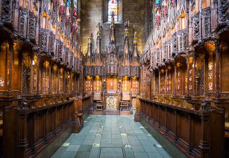 Great Britain, Scotland, Edinburgh, St. Gile's cathedral interior, the Thistle chapel.