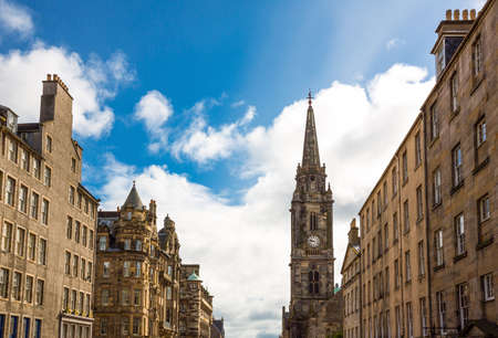 mile: Great Britain, Scotland, Edinburgh, the Royal Mile looking towards Holyrood,with the Tron Kirk bell tower in the background. Stock Photo