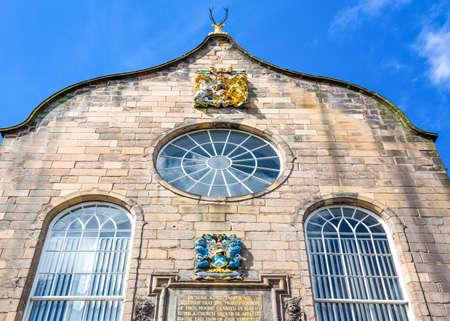 kirk: Great Britain, Scotland, Edinburgh, Royal Mile, the Canongate Kirk, detail of the facade.