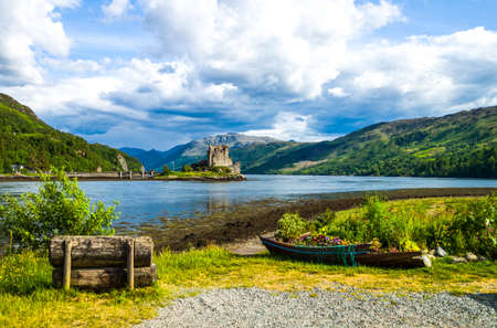 highland: Great Britain, Scotland, Highlands, landscape with the Eilean Conan castle in the background.