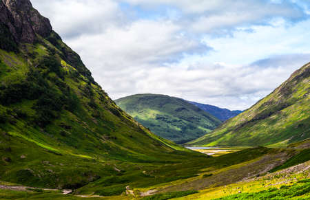 glen: Great Britain, Scotland, Highlands, the famous Glen Coe mountains. Stock Photo