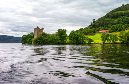 loch ness: Great Britain, Scotland, Highlands, view of ruins of Urquhart castle on the Loch Ness lake.