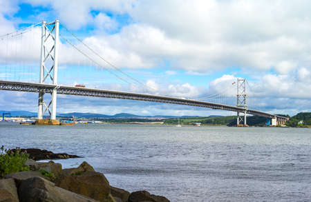 lothian: Great Britain, Scotland, Lothian area, the Forth Road bridge seen from South Queenferry